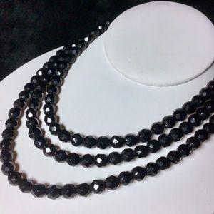 🎁Long Black Crystal VINTAGE Necklace